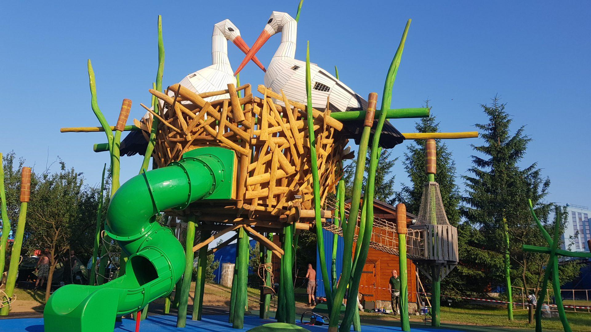 Stork nest in cane
